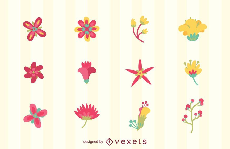 Flower logo set tempates