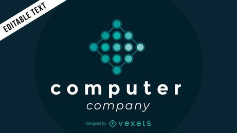 Logotipo de la empresa informática con nodos.