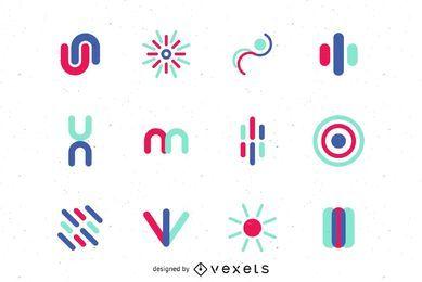 Conjunto gráfico de vetor de logotipo