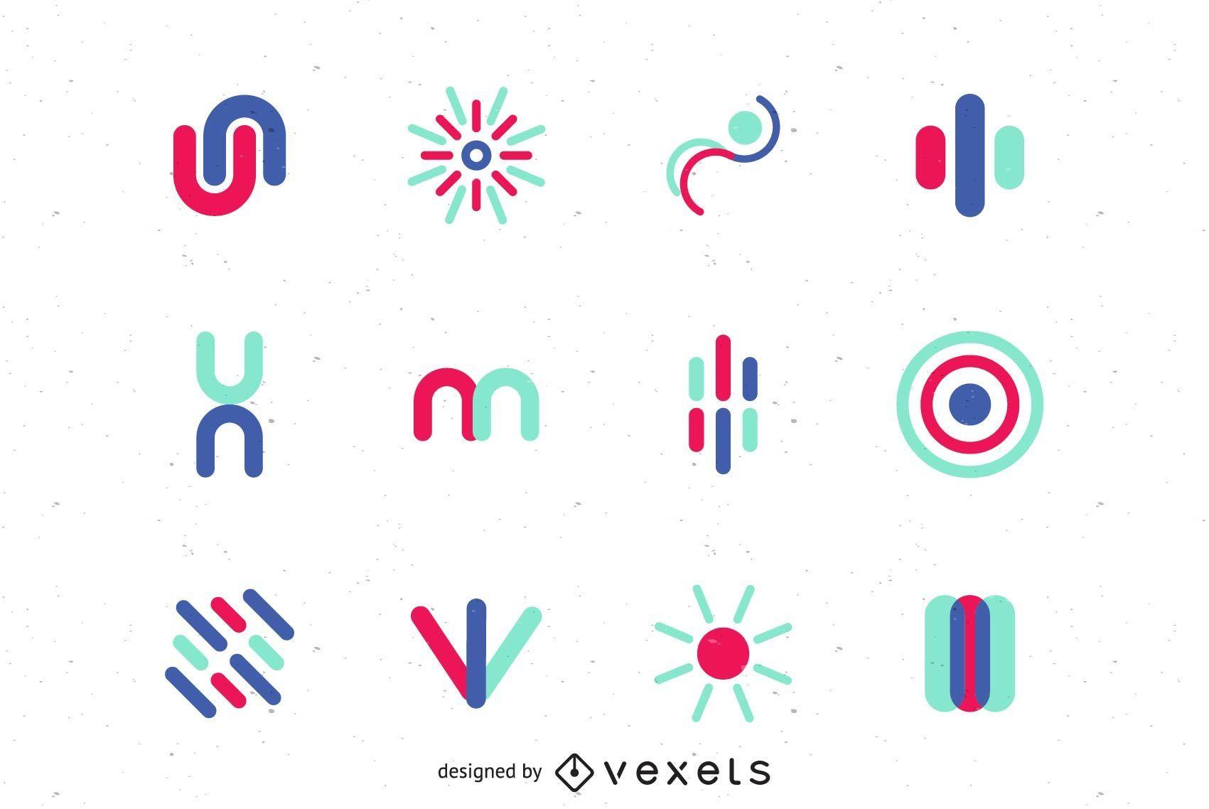 Conjunto de gráfico vetorial de logotipo