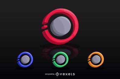 Conjunto de logotipo de tecnologia 3D
