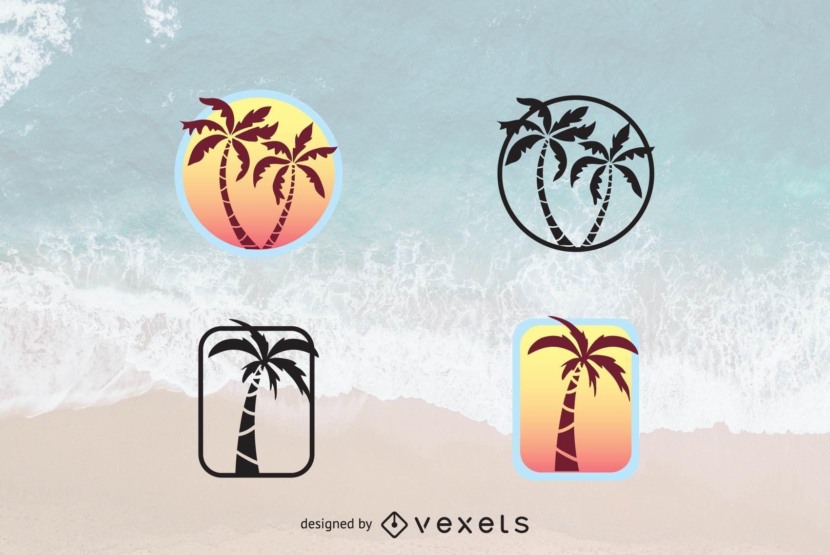 Conjunto de logotipo de palmera