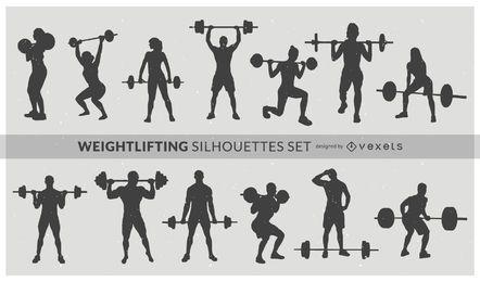 Conjunto de silueta de levantamiento de pesas