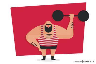Levantador de pesas levantando pesas ilustración