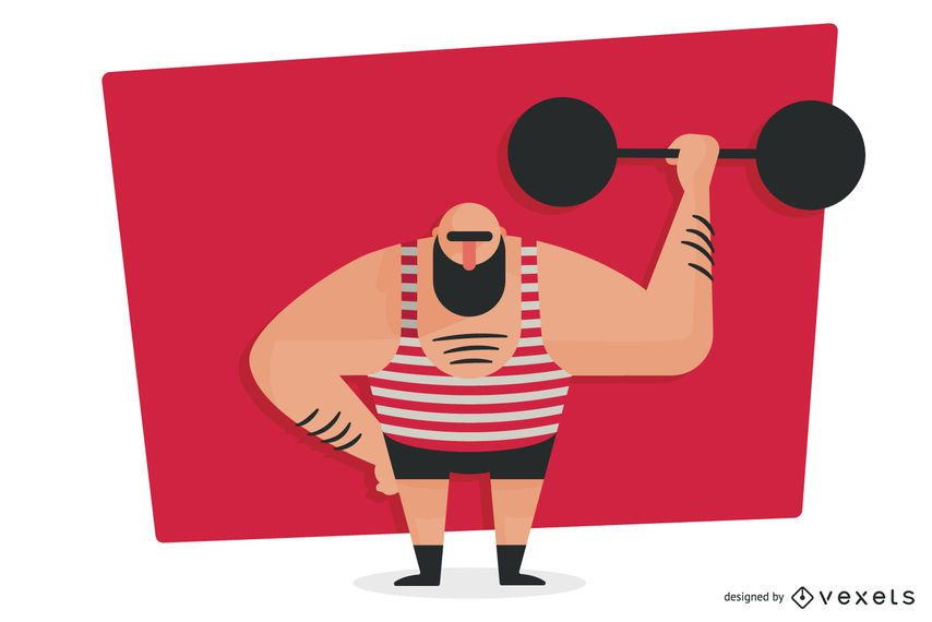 Weightlifter lifting barbell illustration