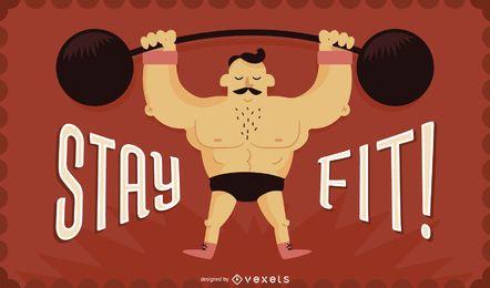Bleiben Sie fit Gewichtheben Illustration