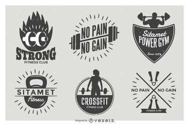 Weightlifting label badge set