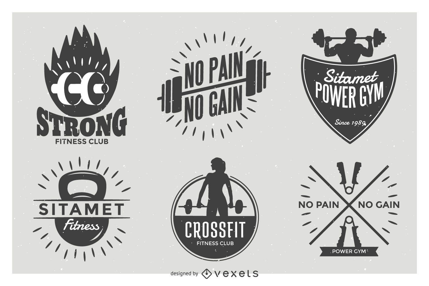 Weightlifting label badge set