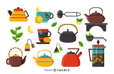 Conjunto de ícones de ilustração plana chá