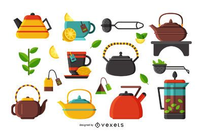 Flat illustration tea icons set