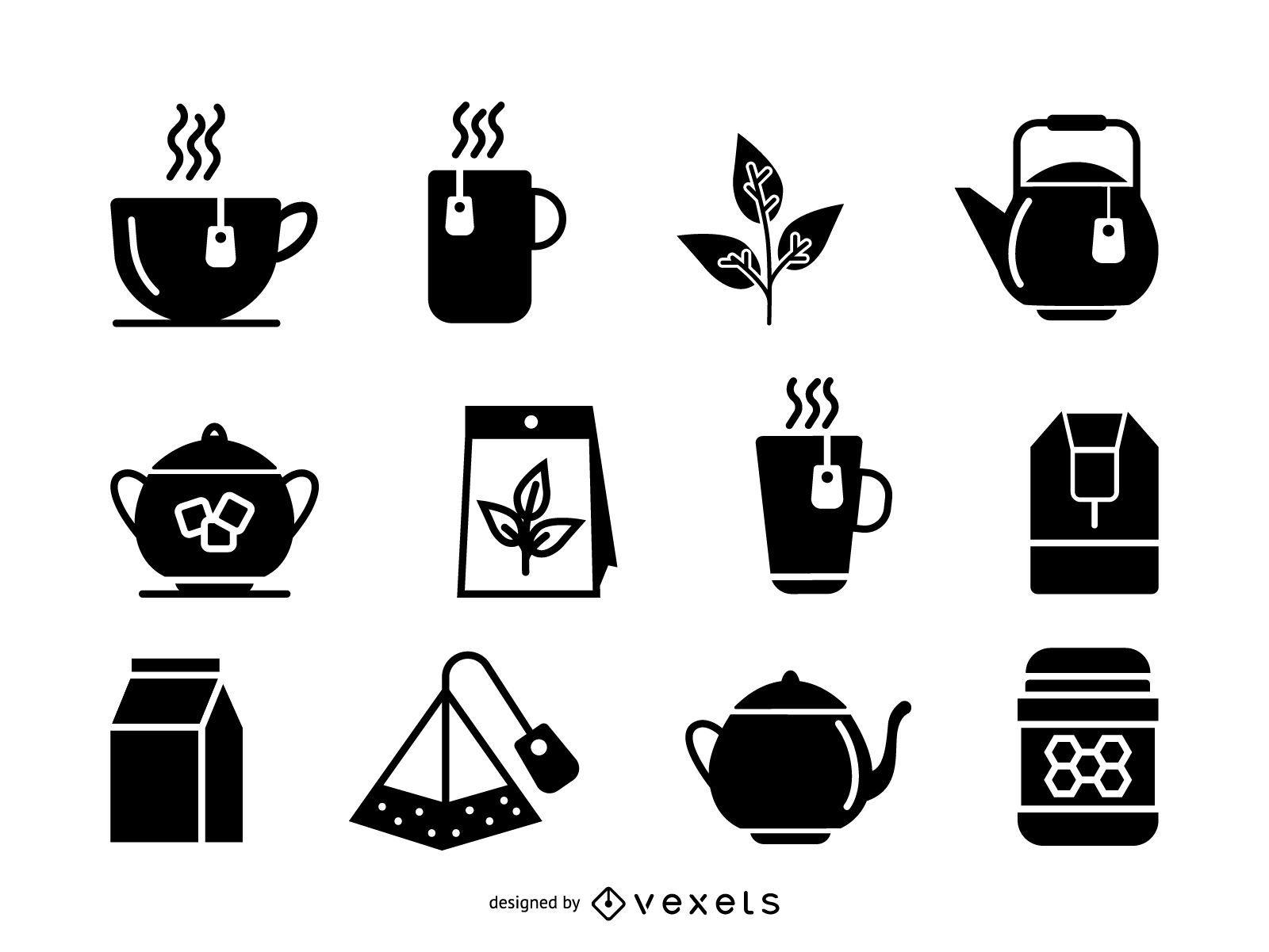 Conjunto de ícones de chá isolados