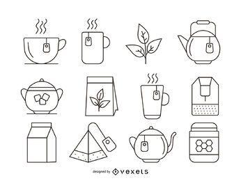 Conjunto de ícones de traço de chá