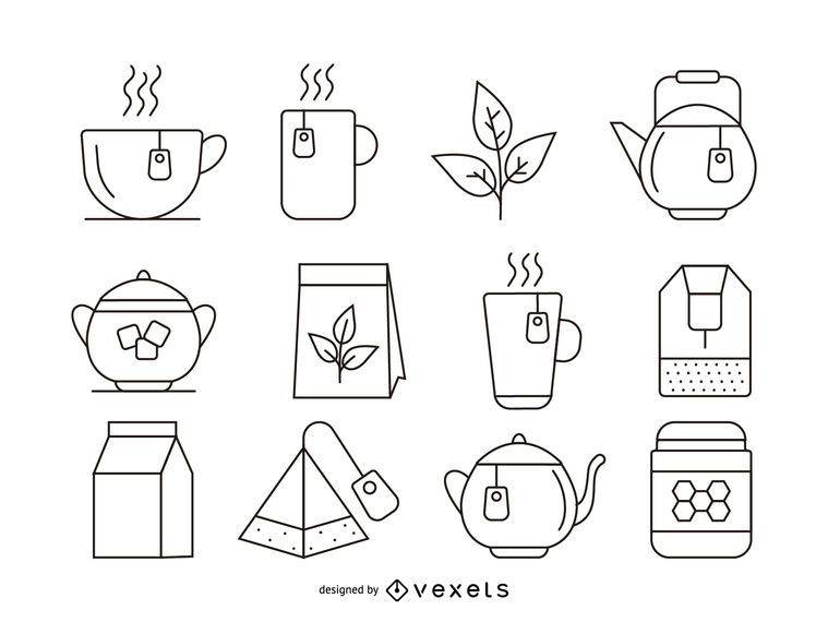 Tea stroke icons set