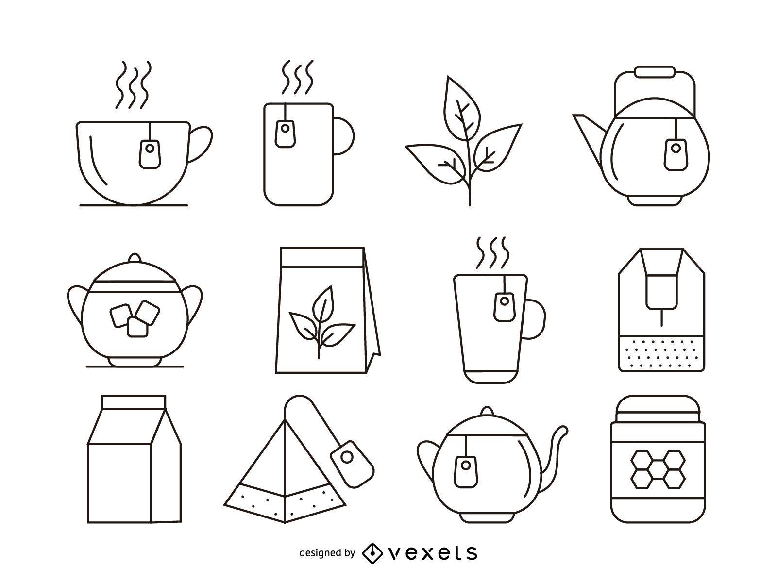 Conjunto de iconos de trazo de té