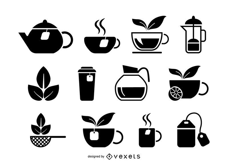 Tea drink icons set