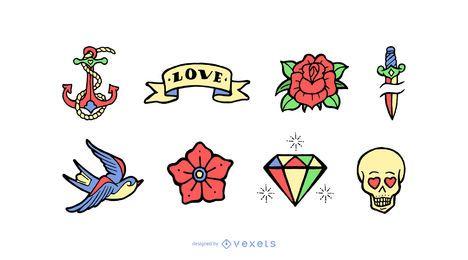 Conjunto de desenhos animados de tatuagem vintage