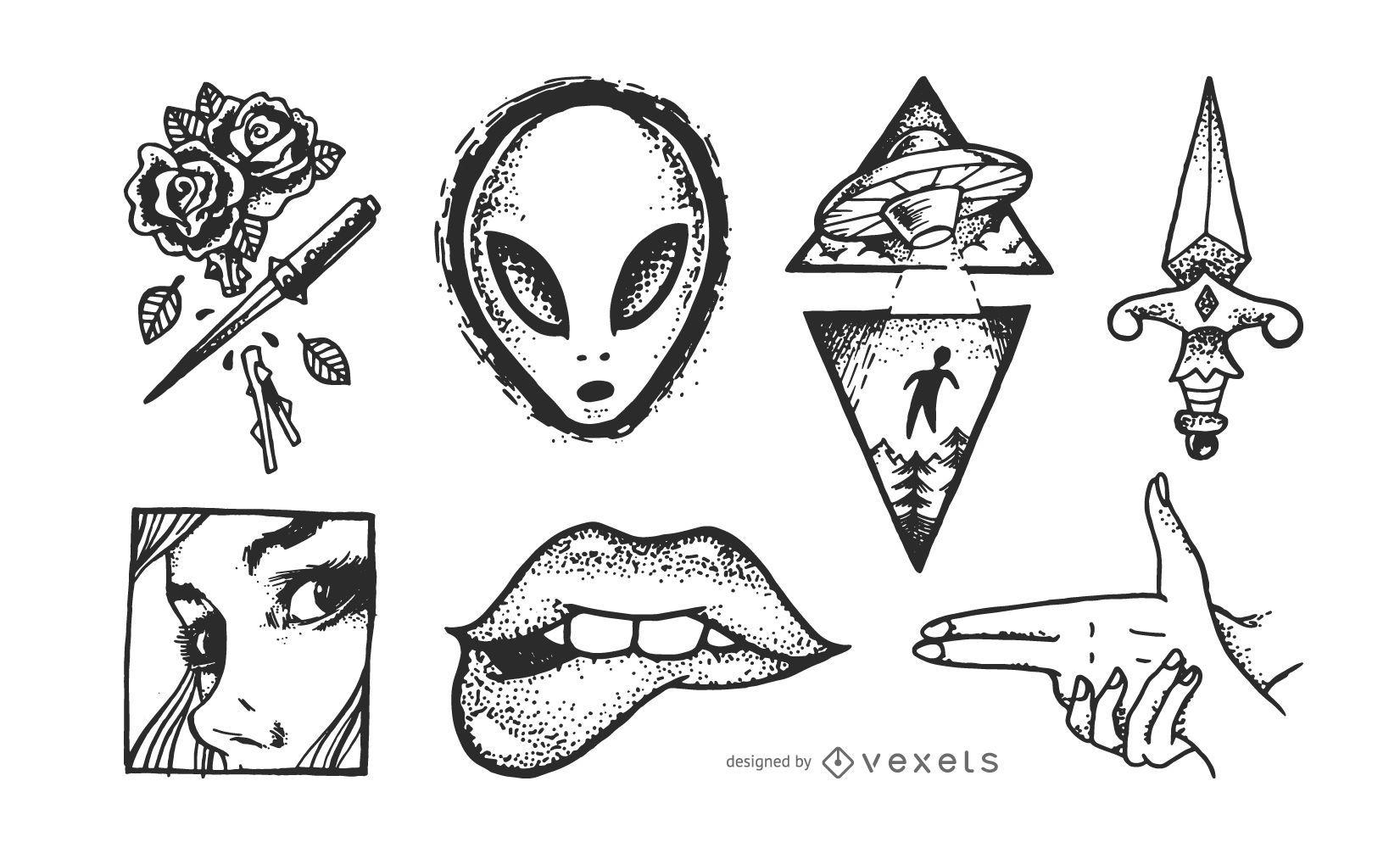 Conjunto de bocetos de tatuajes vintage