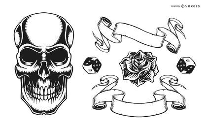 Conjunto gráfico de tatuagem vintage