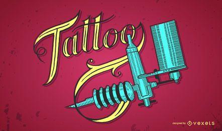 Diseño de rotulación y maquina de tatuaje.