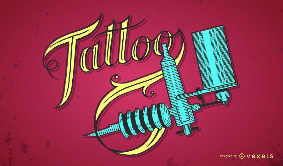 Tatuagem, lettering, e, tatuagem, máquina, desenho