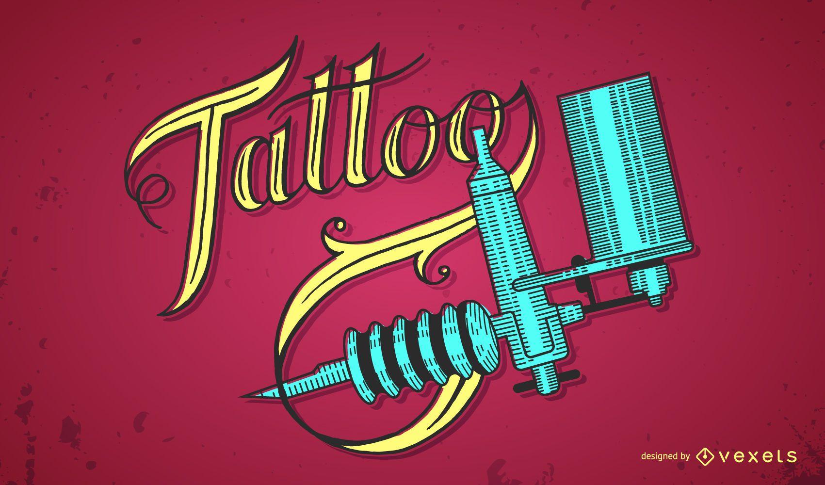 Rotulación de tatuaje y diseño de máquina de tatuaje