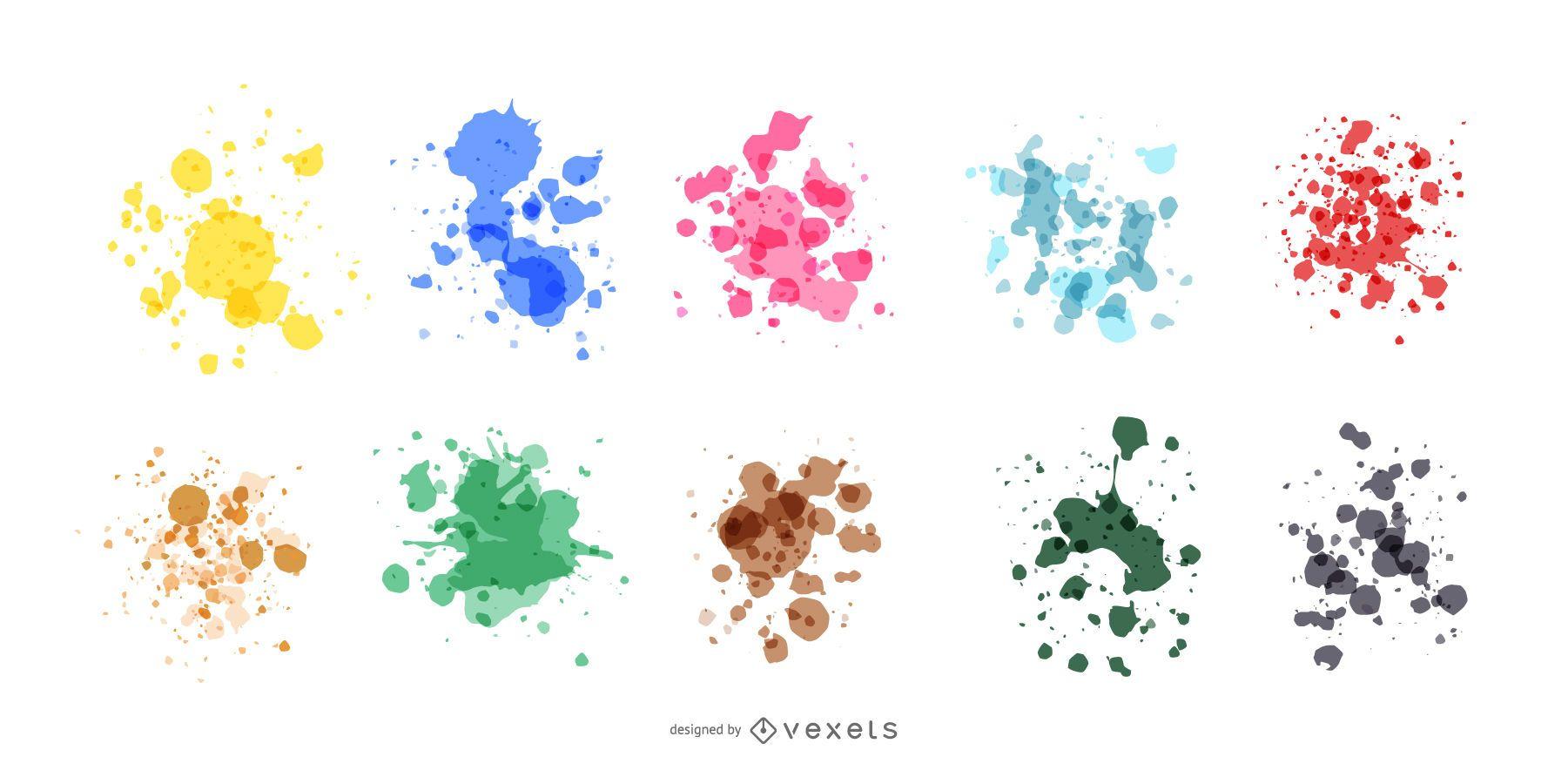 Conjunto de respingos de tinta realista