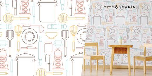 Patrón de utensilios de cocina
