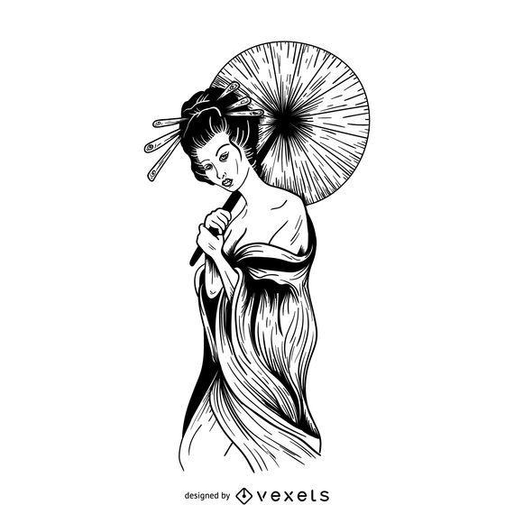 Geisha ilustración de contorno