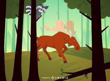 Floresta, paisagem, ilustração