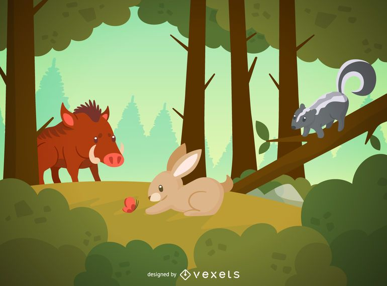 Forest animals wildlife illustration