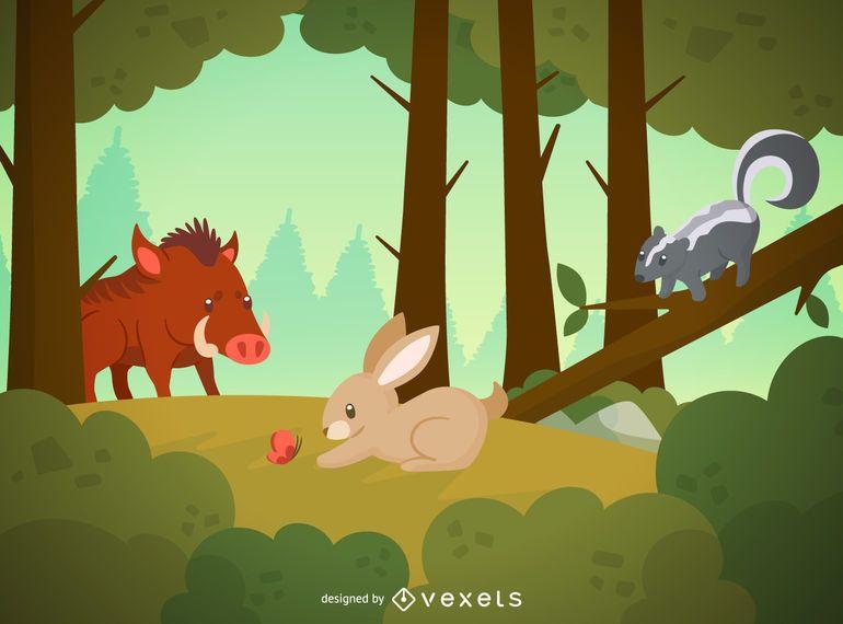 Ilustración de animales silvestres de bosque