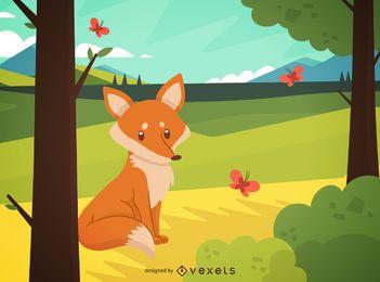 Fox floresta paisagem