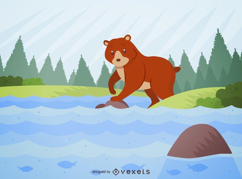 Ilustración de oso en un río y bosque