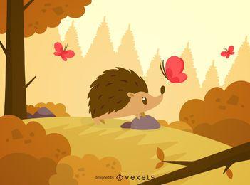 Erizo en ilustración de paisaje de bosque