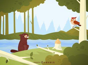 Castor, floresta, paisagem