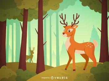 Paisaje de bosque de ciervos