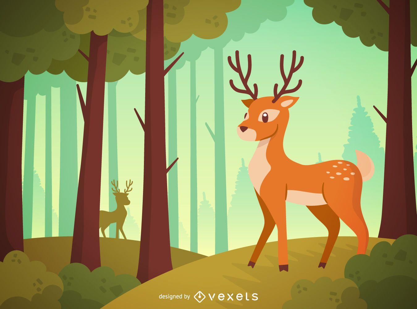 Deer forest landscape