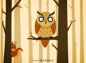 Ilustración de dibujos animados de búho del bosque