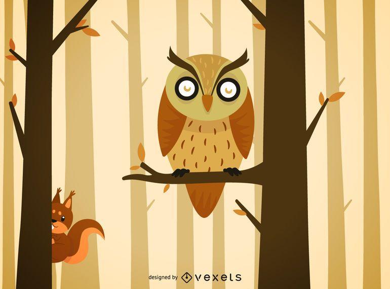 Ilustração de desenhos animados de coruja de floresta
