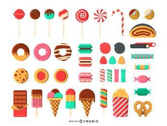 Conjunto de ícones de doces