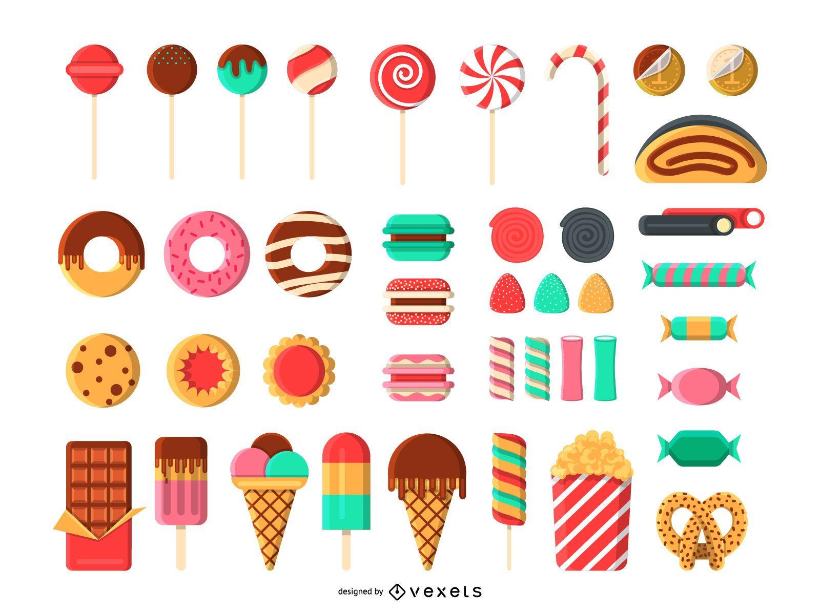 Conjunto de iconos de caramelos