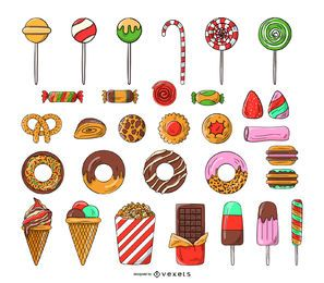 Conjunto de ícones de doces e balas