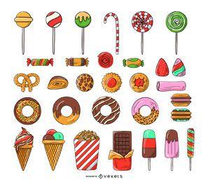 Conjunto de iconos de dulces y dulces