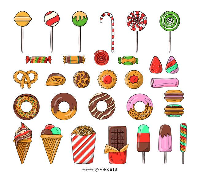 Sweets and candy icon set