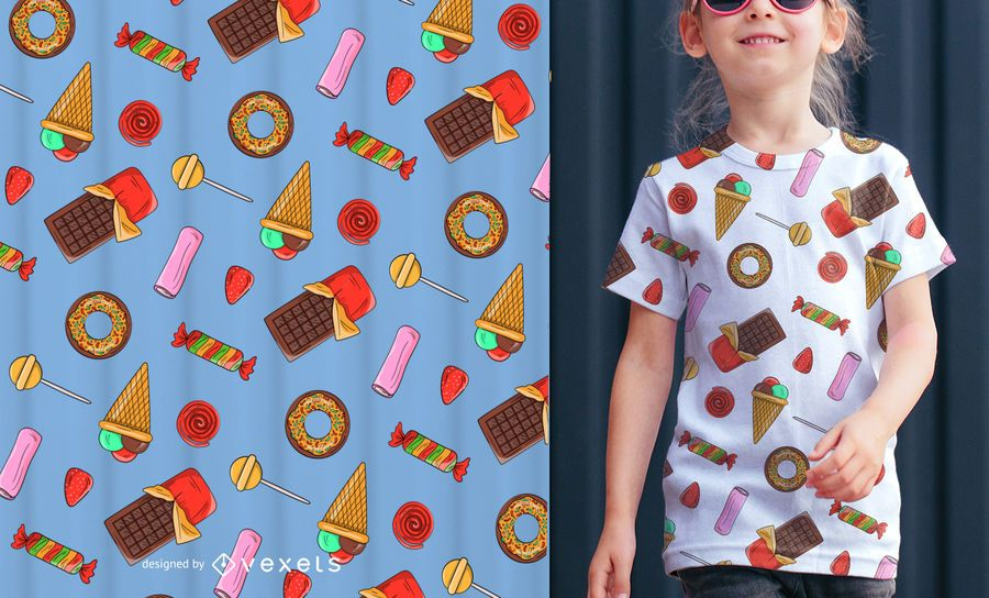 Candies illustration seamless pattern