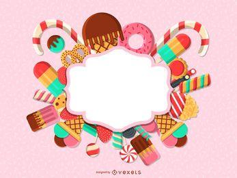 Modelo de etiqueta de distintivo de doces