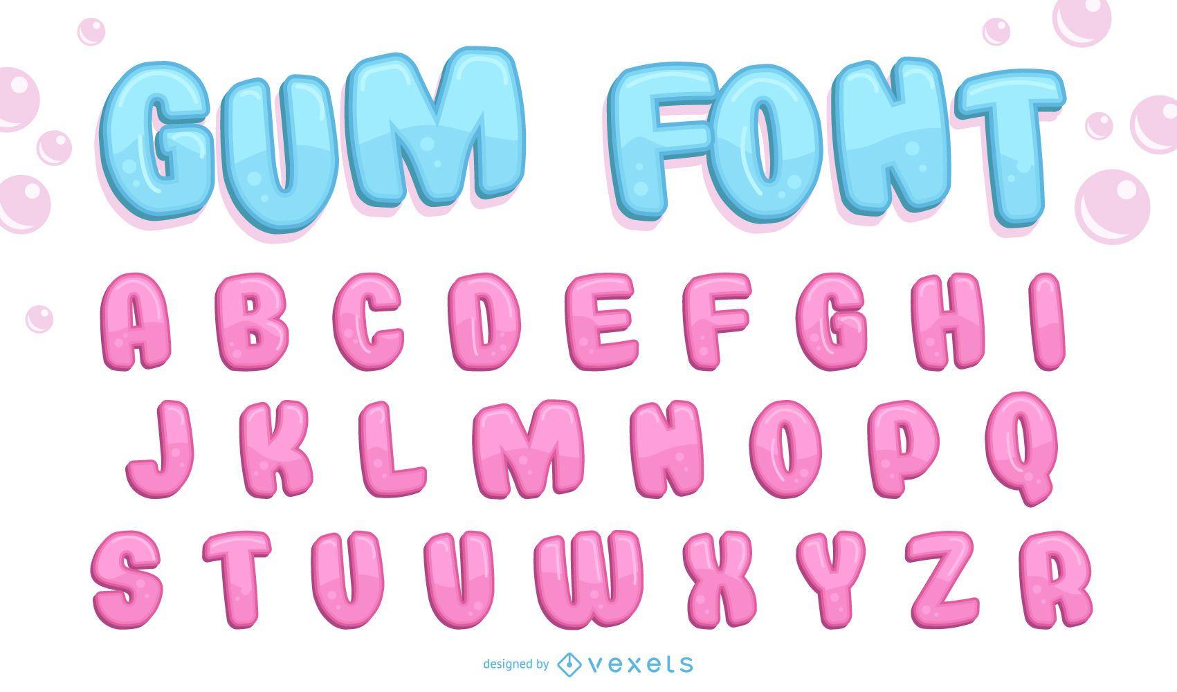 Fuente bubble gum 3D