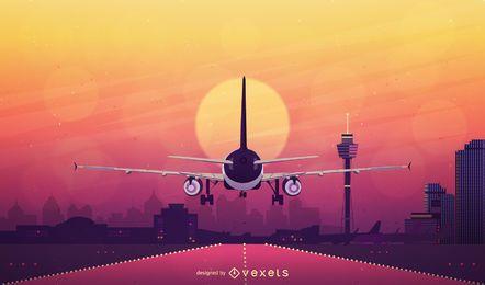 Airplane sun background