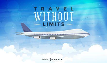 Ilustración de viaje de avión con texto