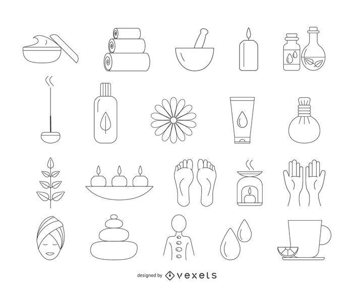 Conjunto de iconos de trazo de spa